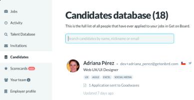 Base de datos de candidatos